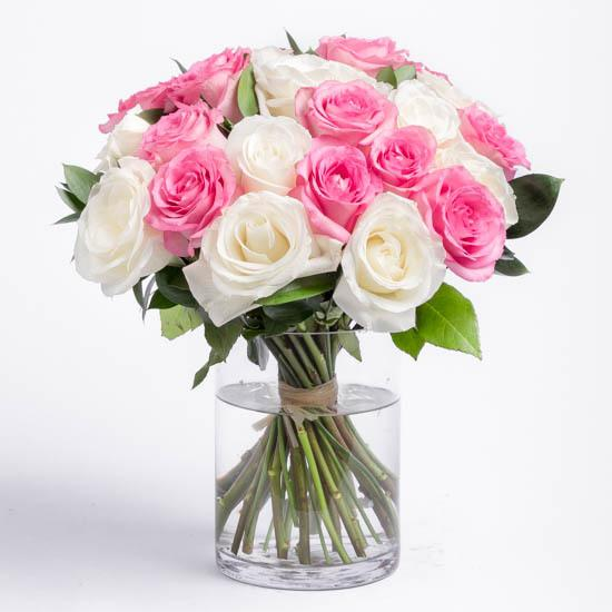 Pink And White Glory-bouquet of pink and white roses - for Midnight Flower Delivery in Category | Flowers | Flower With Vase
