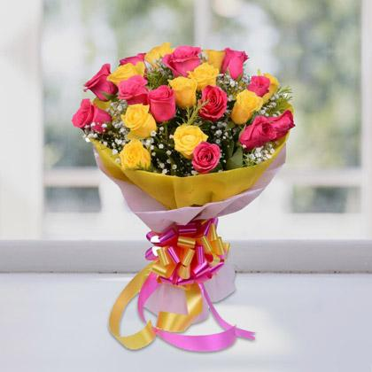 Pink And Yellow Beauty - for Midnight Flower Delivery in India