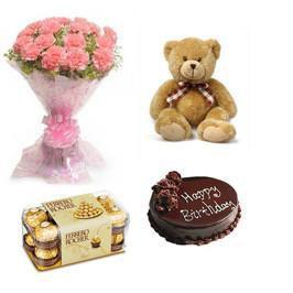 Carnations, Teddy, Chocolate and Cake Combo - for Flower Delivery in Love And Romance