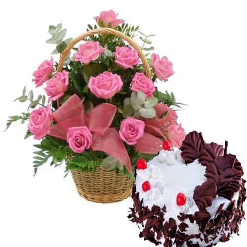 Pink Roses and Love - from Best Flower Delivery in India