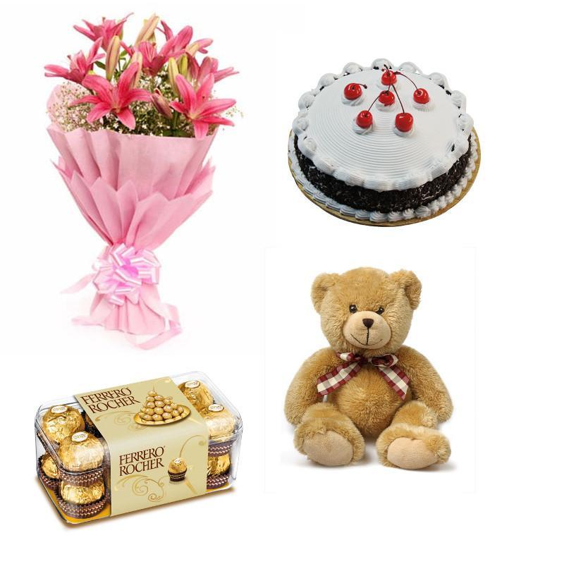 Lilies, Chocolate, Teddy and Cake Combo - from Best Flower Delivery in India