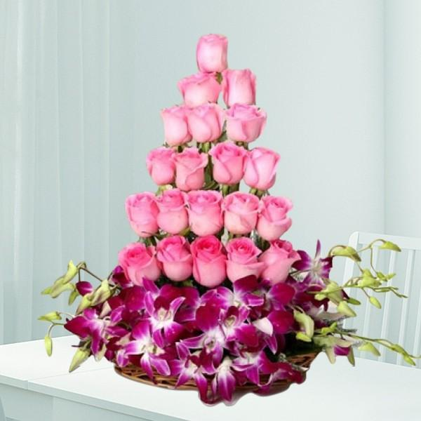 Pink Purple Tower-Mixed Roses For Beloved - for Online Flower Delivery In India