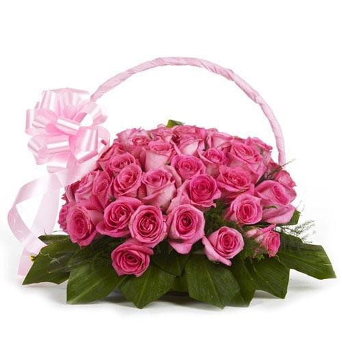 Pink Passion Basket-20 Pink Roses - for Flower Delivery in India