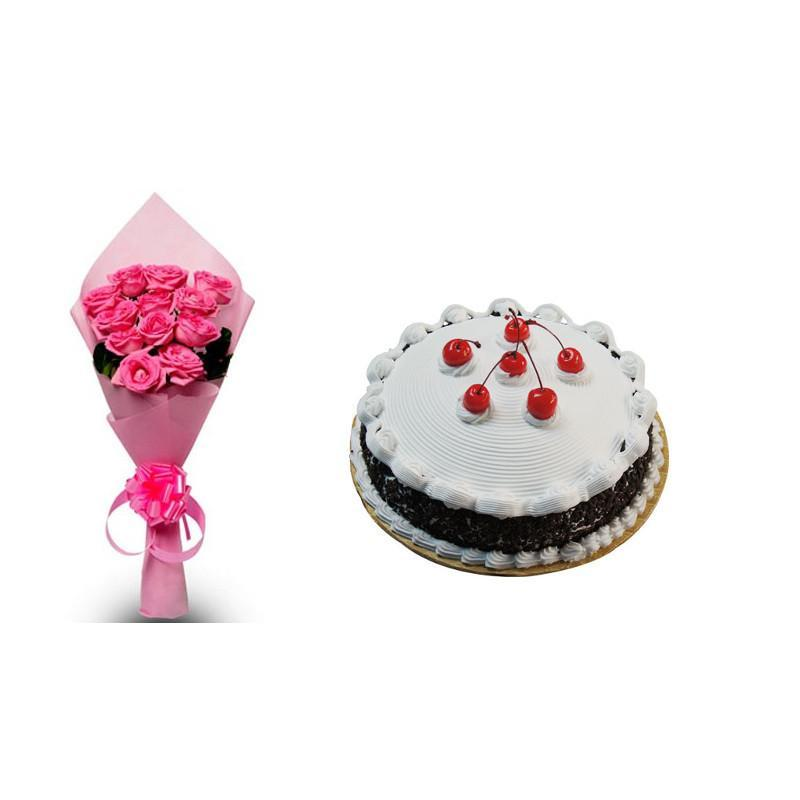 Pink Roses and Black Forest Cake Combo - for Flower Delivery in Main | Gifts