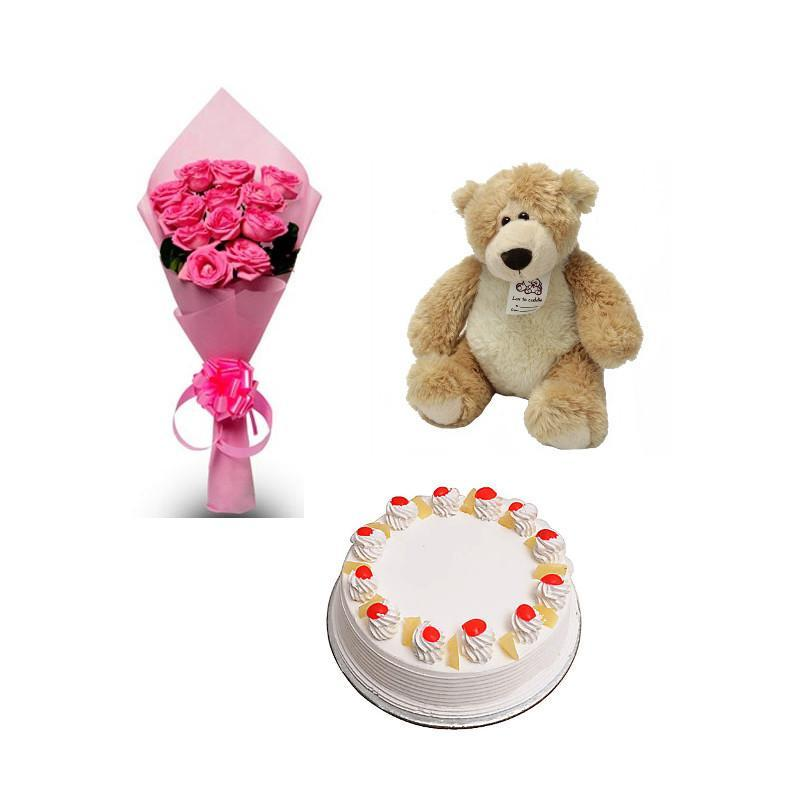 Pink Roses, Teddy and Cake Combo - for Midnight Flower Delivery in India