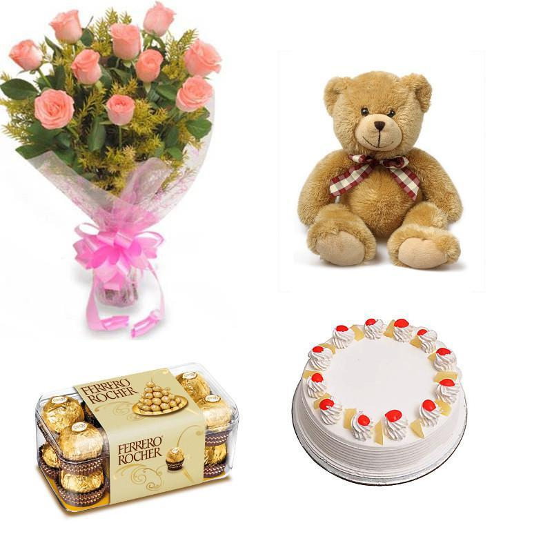 Super Cute Combo of Roses, Teddy, Chocolate and Cake - for Midnight Flower Delivery in India