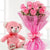 Pink Teddy Love- - This beautiful combo consists of: 10 Pink Roses wrapped in pink cellophane paper Pink Ribbon bow 6 inch teddy