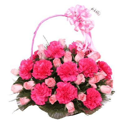Pink Touch Garden - for Midnight Flower Delivery in Category | Flowers | Flowers Basket