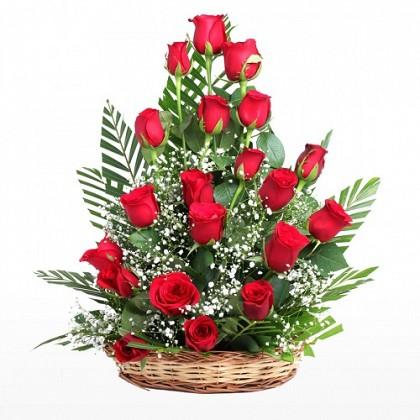 Pretty Rose Basket-basket of red flowers - Send Flowers to India