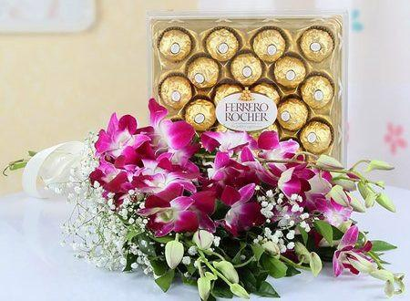 Purple  Love and Chocolates - for Midnight Flower Delivery in India
