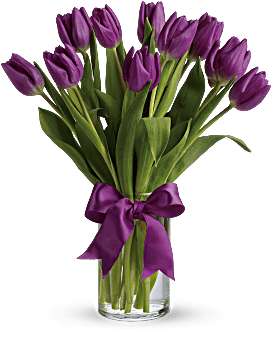 Purple Tulips In Glass Vase - for Midnight Flower Delivery in India