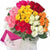 Rainbow Roses- Send Flowers to Bhubaneswar - This beautiful bunch consists of: 10 Red Roses 10 Yellow roses 10 white roses 10 white roses 10 pink roses Premium crape paper wraping Red ribbon bow Green fillers