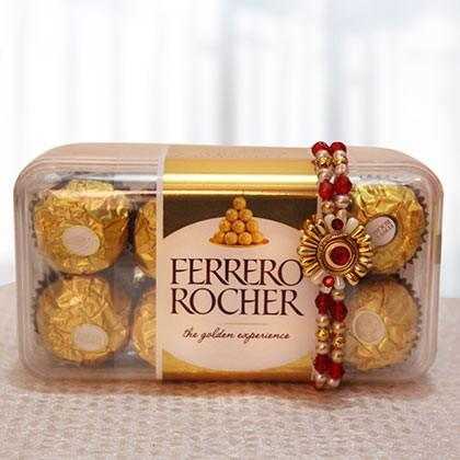 Rakhi with 16 pcs Ferrero Rocher - for Midnight Flower Delivery in India