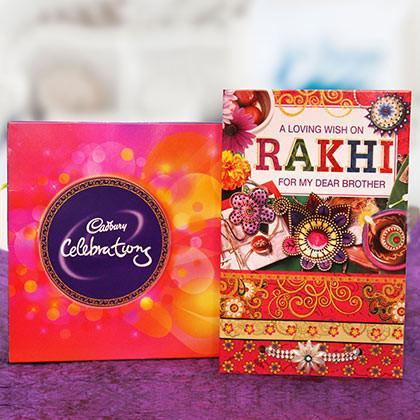 Rakhi with Greeting Card and Celebrations - for Online Flower Delivery In India