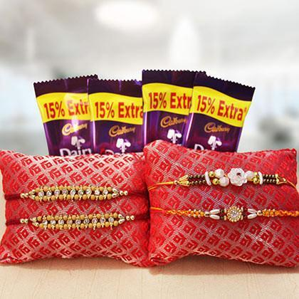 Rakhi and Dairy Milk combo - for Online Flower Delivery In India