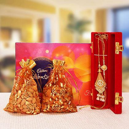 Rakhi with Dry fruits and Celebrations - for Flower Delivery in India