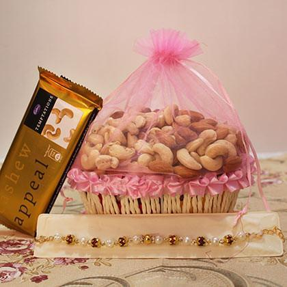 Rakhi with Cashew Chocolate and Dry fruits - for Midnight Flower Delivery in India