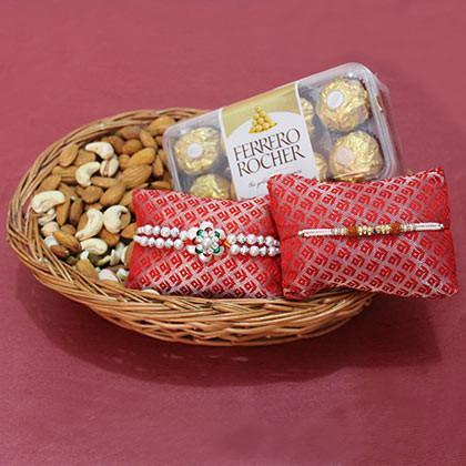 Rakhi with Dry fruits and Ferrero Rocher - Send Flowers to India