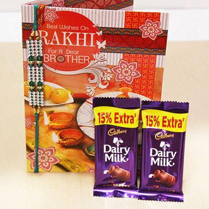 Rakhi with Greetings Card and Dairy Milk - Send Flowers to India