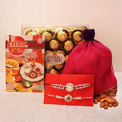 Rakhi with Greeting Card Dryfruits and Ferrero Rocher - for Flower Delivery in India