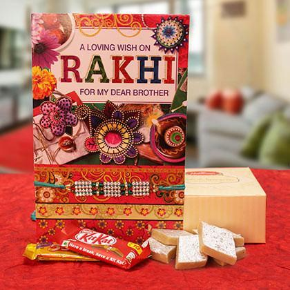 Rakhi with Kaju Barfi and Kitkat - for Midnight Flower Delivery in India