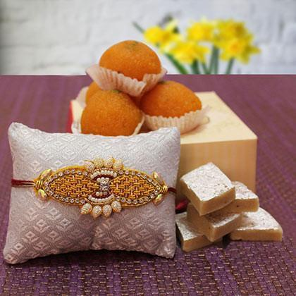 Rakhi with Motichur and Kaju Barfi - from Best Flower Delivery in India