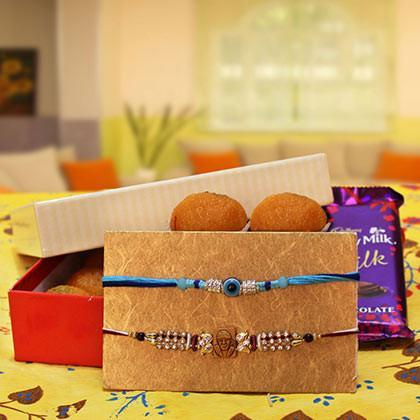 Rakhi with Motichur Laddoo and Dairy Milk Silk - for Online Flower Delivery In India