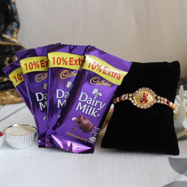 Rakhi With Dairy Milk Chocolate - for Online Flower Delivery In India