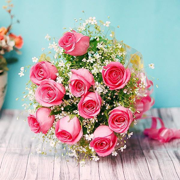 Ravishing Pink-Fresh and Lovely Pink Roses - for Midnight Flower Delivery in India