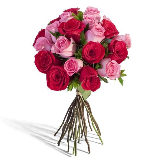 Red And Pink Twist-Red and Pink Roses - for Midnight Flower Delivery in India