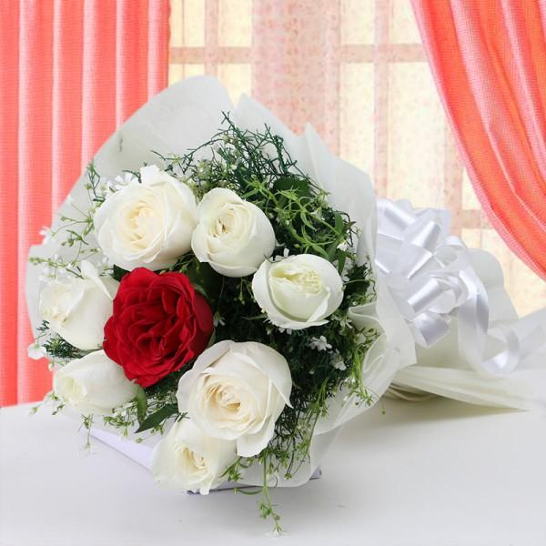 Red And White Memory-red & white roses bouquet - for Online Flower Delivery In India