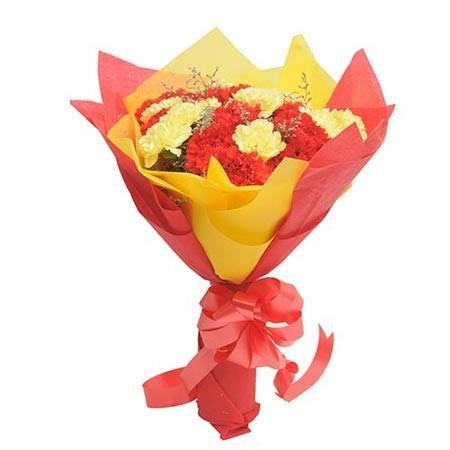 Red and Yellow Carnations Premium - for Flower Delivery in India