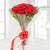 Red Beauty- - for Flower Delivery in India - This beautiful bunch consists of: 10 red carnations Cellophane paper wrap Red ribbon bow Green fillers