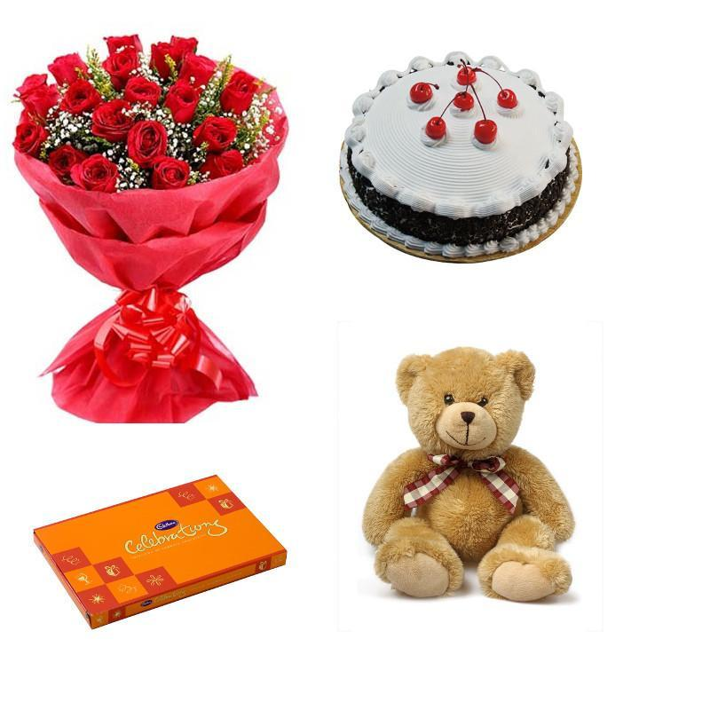 Pure love combo of Roses, Chocolate, Teddy and Cake - for Online Flower Delivery In India