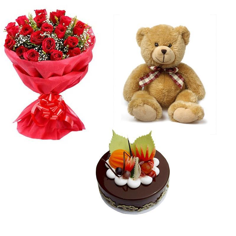 Pure Love Teddy Combo - for Online Flower Delivery In India