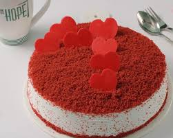 Red Velvet With Red Hearts - for Online Flower Delivery In India