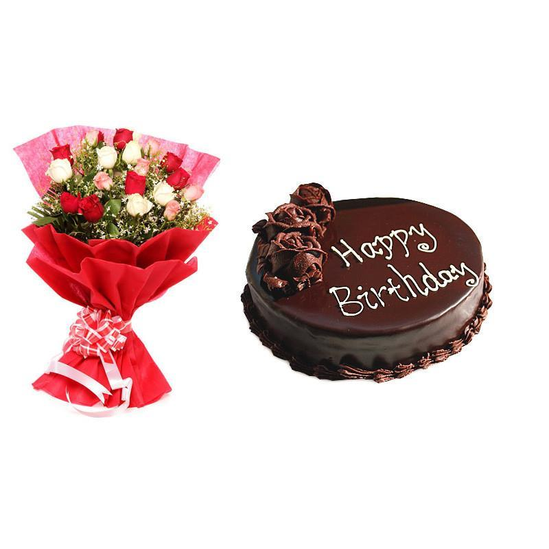 Mixed Roses with Cake combo - for Midnight Flower Delivery in India