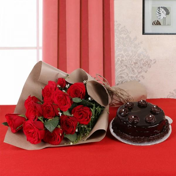 Rose And Cake - for Flower Delivery in India