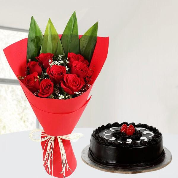 Rose And Truffle Cake - for Online Flower Delivery In Category | Cakes | Cakes Combo