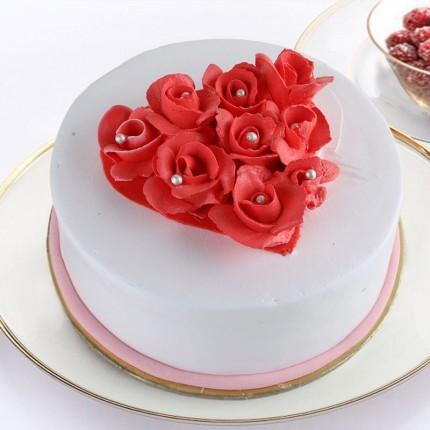 Vanilla Rose Cake - for Midnight Flower Delivery in Cakes Online
