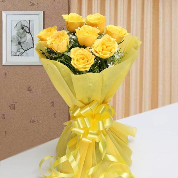 Shine Of Sunshine-8 Yellow Roses - for Midnight Flower Delivery in India