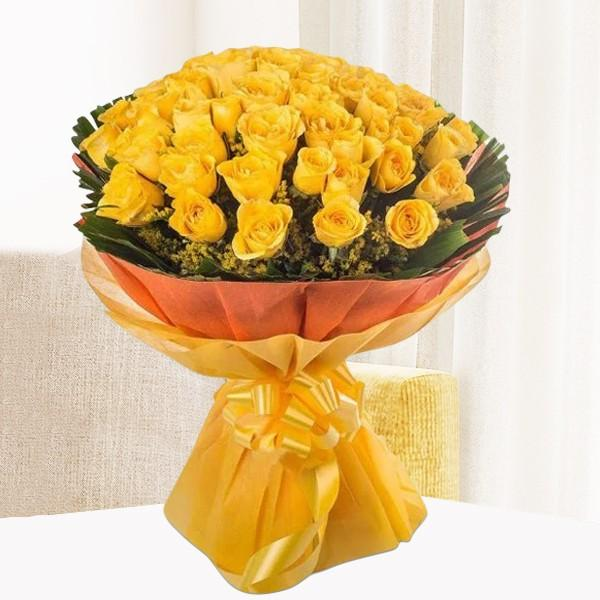 Simply Cute-yellow bouquet of roses