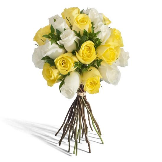 Simply Sweet-bouquet of white and yellow roses - for Online Flower Delivery In India