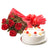 Small Sweet Treat- - for Online Flower Delivery In Category | Cakes | Cakes Combo -This Beautiful combo consists of 6 Red Rose Bouquet Red Premium Paper Wrapping  Half KG Pineapple Cake  Note: While we always strive to ensure that products are accurately represented in our photographs, from season to season and subject to availability, our florists may be required to substitute one or more flowers for a variety of equal or greater quality, appearance and value. Also for cakes, Actual design and arrangement might differ based on chef, seasonal elements and ingredient availability.