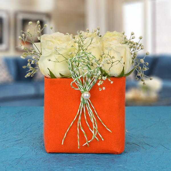 Small Treat-white rose bouquet - Send Flowers to India
