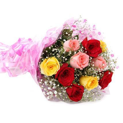 Colorful Hugs- Mix Roses Bouquet - for Midnight Flower Delivery in Category | Flowers | Flowers Below Rs 500