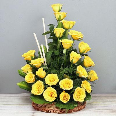 Sunrise Sweet Treat-a basket of yellow roses - from Best Flower Delivery in Category | Flowers | Flowers Basket