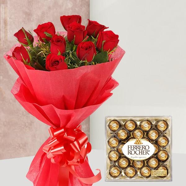 Tempting Rocher Celebration - for Midnight Flower Delivery in India