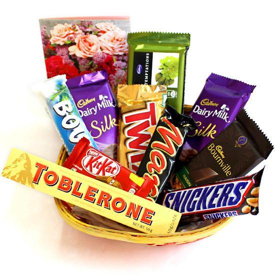 Toblerone Choco Basket - for Midnight Flower Delivery in India