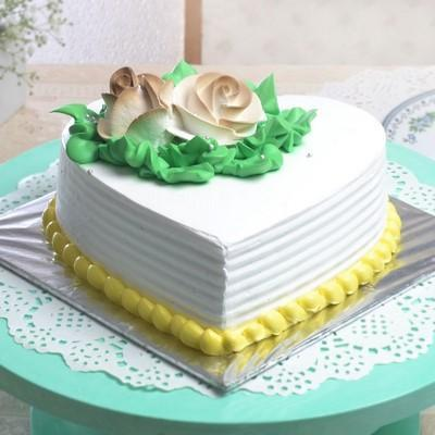 Vanilla Heart Shape Cake - from Best Flower Delivery in India